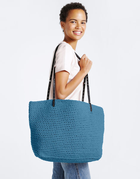 Carrie on tote mt blue lagoon