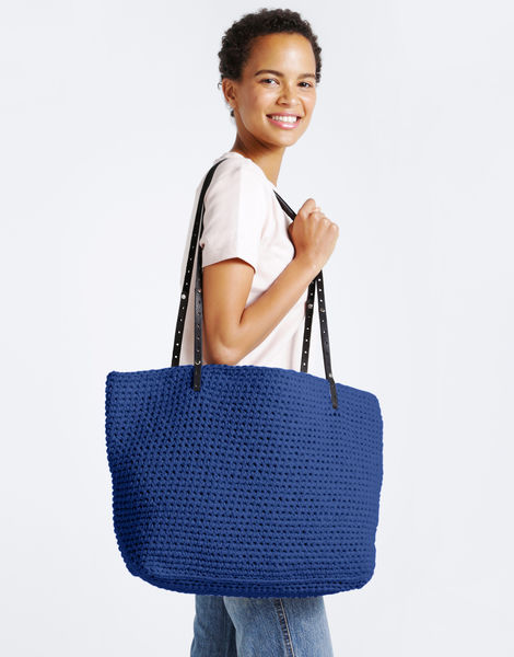 Carrie on tote mt true blue