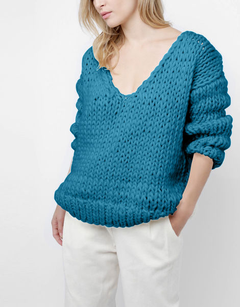 Way wool sweater csw green lagoon