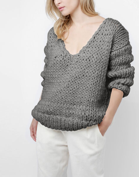 Way wool sweater csw tweed grey