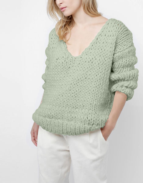Way wool sweater csw eucalyptus green