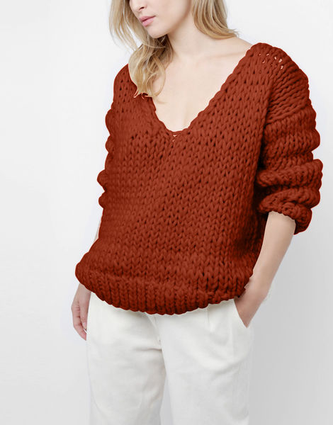Way wool sweater csw red ochre