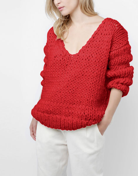 Way wool sweater csw lipstick red