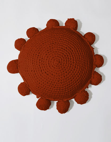 Circle game cushion csw red ochre