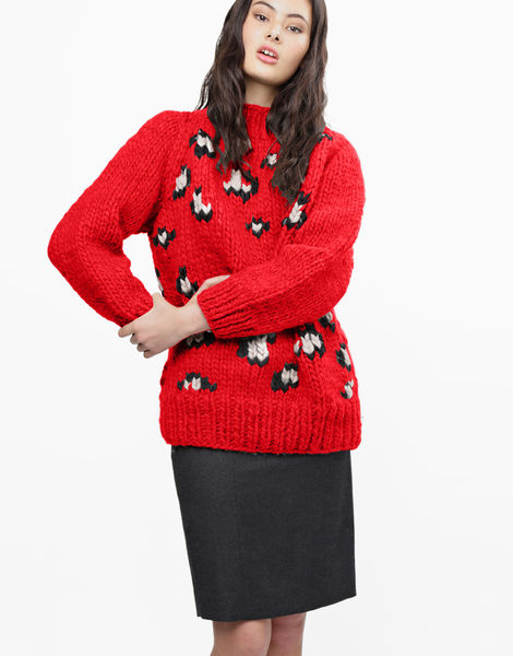 Jungle boogie sweater csw lipstick red