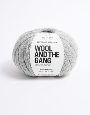 Glitter ball sock yarn disco ball grey
