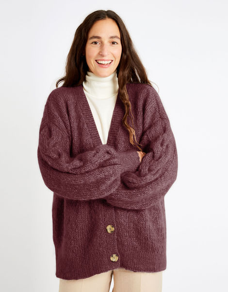 Miles cardigan tcm take care mohair tcm grape purple