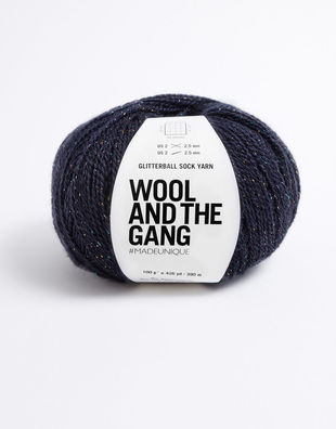 Glitter ball sock yarn night fever navy