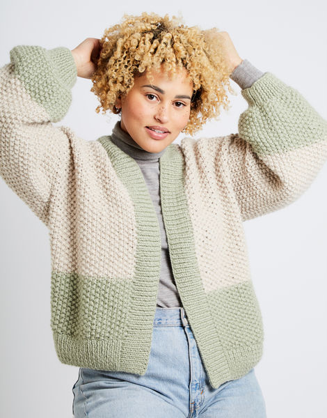 Grace cardigan two tone am sahara dust eucalytus green 01