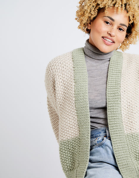 Grace cardigan two tone am sahara dust eucalytus green 02