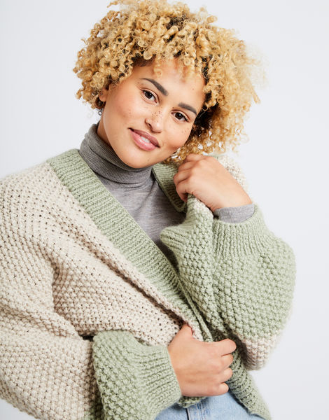 Grace cardigan two tone am sahara dust eucalytus green 03