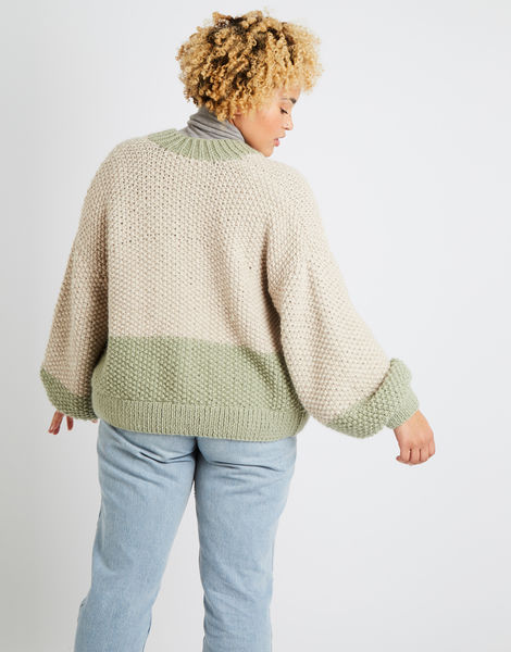 Grace cardigan two tone am sahara dust eucalytus green 08