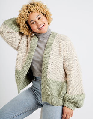 Grace cardigan two tone am sahara dust eucalytus green 07