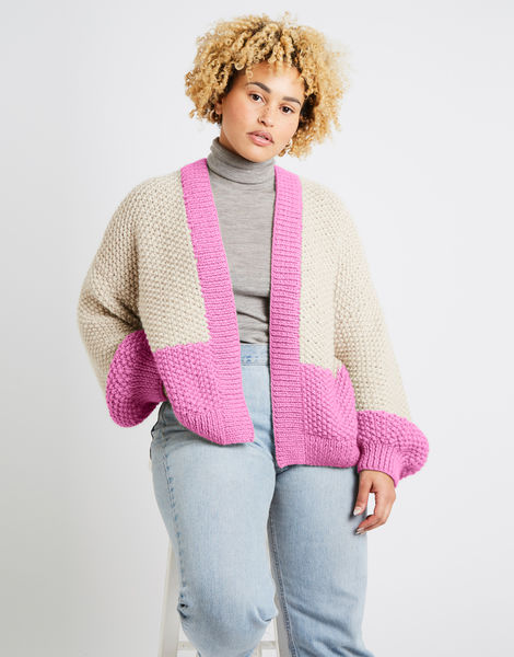 Grace cardigan two tone alpachino merino am bubblegum pink