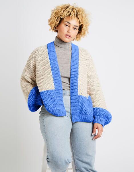 Grace cardigan two tone alpachino merino am cornflower blue