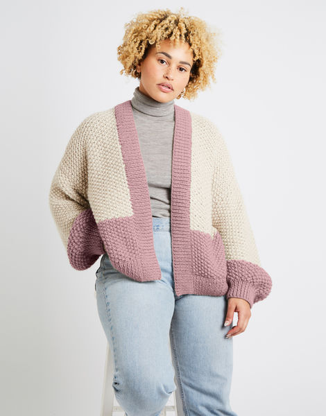 Grace cardigan two tone alpachino merino am cameo rose