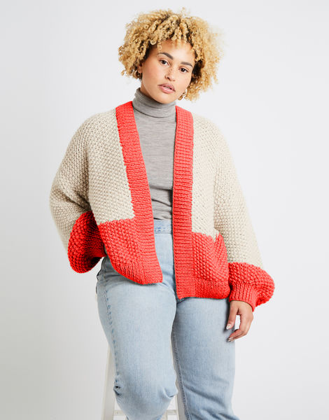 Grace cardigan two tone alpachino merino am pink sherbert