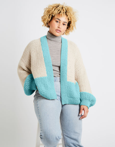 Grace cardigan two tone alpachino merino am magic mint