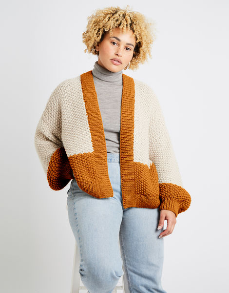 Grace cardigan two tone alpachino merino am chestnut brown