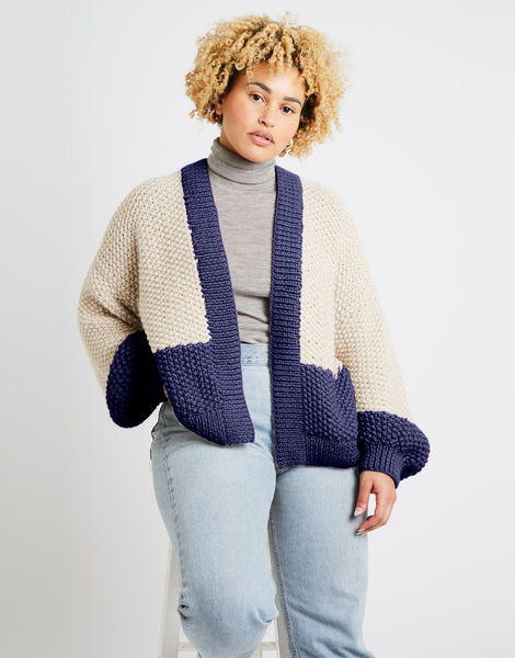 Grace cardigan two tone alpachino merino am midnight blue