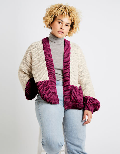Grace cardigan two tone alpachino merino am margaux red