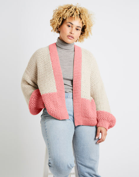 Grace cardigan two tone alpachino merino am rocksalt red