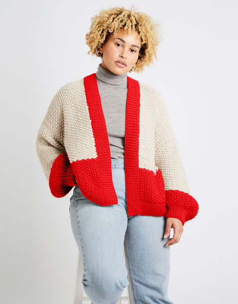 Grace cardigan two tone alpachino merino am true blood red