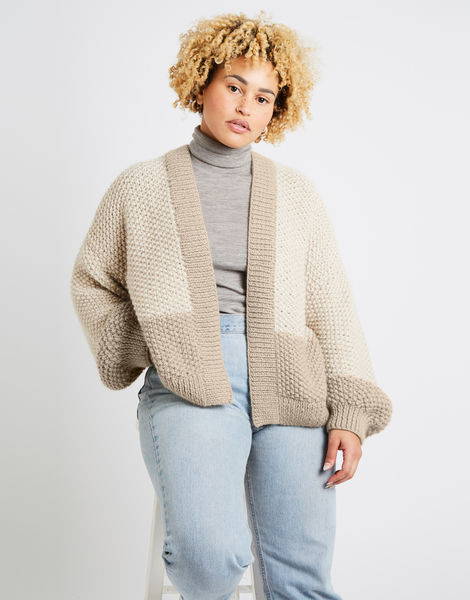 Grace cardigan two tone alpachino merino am sahara dust