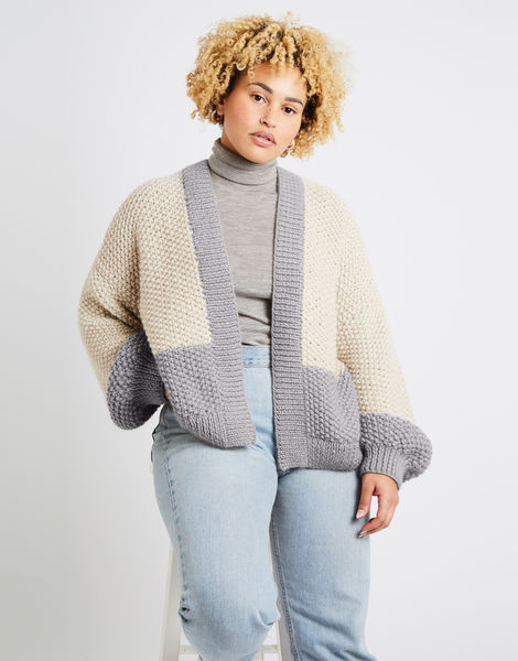 Grace cardigan two tone alpachino merino am rocky grey