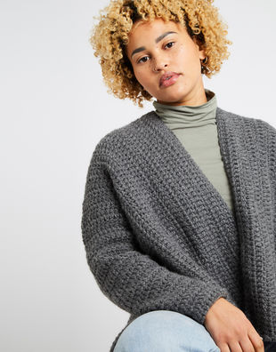 Kelly cardigan am tweed grey 04
