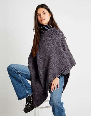 Gwyenth poncho alpachino merino am tweed grey