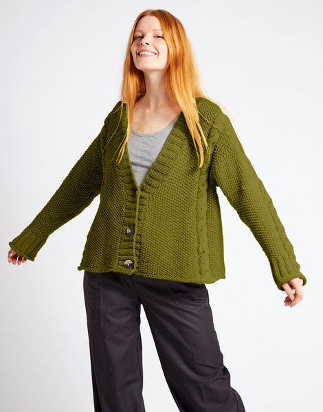 Second wave cardigan nwy seaweed green