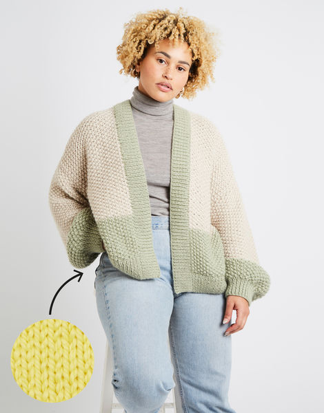Grace cardigan two tone am chalk yellow