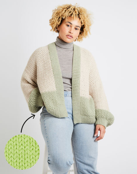 Grace cardigan two tone am lime sorbet