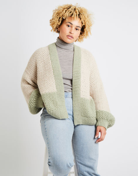 Grace cardigan two tone am sahara dust eucalytus green 09